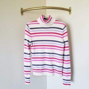 Express 100% Cashmere Turtleneck Striped Sweater L